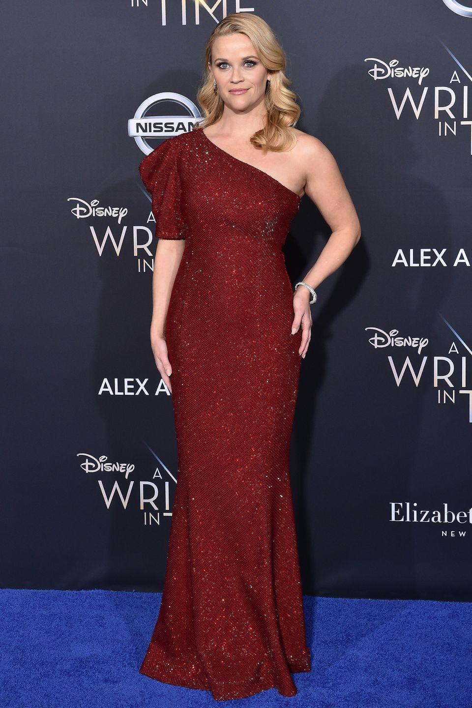 <p>Witherspoon pulled out the stops in a ruby red sequin Tom Ford gown for the premiere of the highly anticipated <em>A Wrinkle in Time. </em></p>