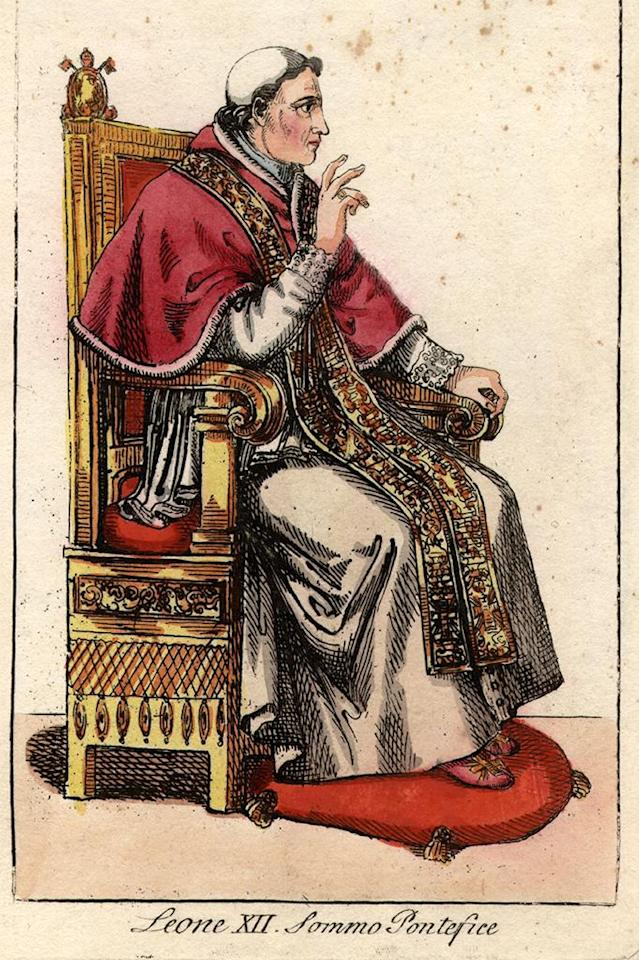 Pope Leo XII (1760 - 1829), sitting in full ceremonial attire on the throne. (Photo by Hulton Archive/Getty Images)