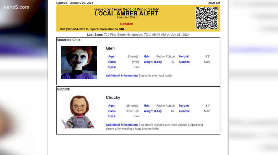 """An AMBER alert was sent out by accident, it featured Child Play's Chucky, the doll, and his son, Glen, who was """"abducted"""". Source: KENS 5"""