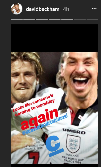 David Beckham posted this photo on Instagram shortly after full-time