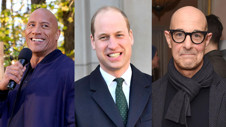Dwayne Johnson, Prince William and Stanley Tucci. (Credit: Frank Masi/NBC/NBCU Photo Bank/Samir Hussein/WireImage/David M. Benett/Getty Images)