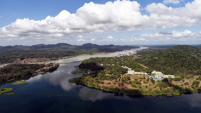 An aerial view of the Panama Canal and Gatún Lake