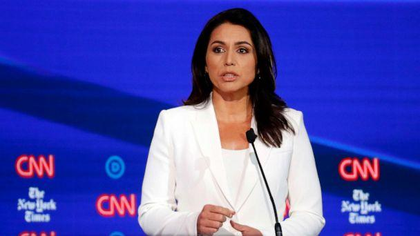 PHOTO: Democratic presidential hopeful Tulsi Gabbard speaks during the fourth Democratic primary debate at Otterbein University in Westerville, Ohio, Oct. 15, 2019. (John Minchillo/AP)