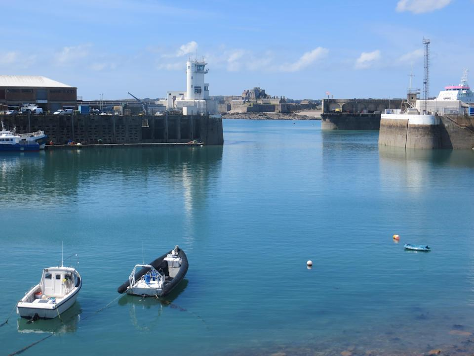 The harbour in St Helier, Jersey, is shown on 7 May, 2021, the day after a French flotilla gathered  there amid a row on fishing rights.  (Rory Sullivan)