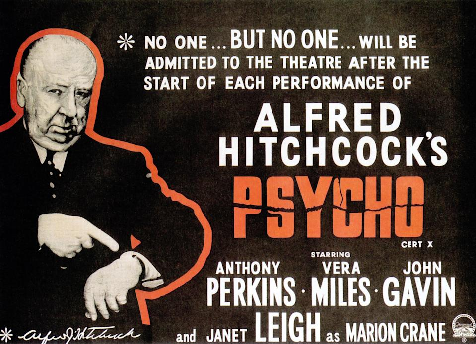 Psycho, poster, director Alfred Hitchcock, 1960. (Photo by LMPC via Getty Images)
