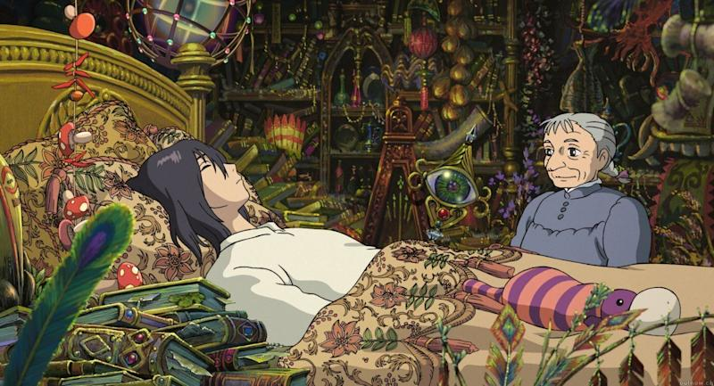 Sophie watches over Howl as he sleeps. (Studio Ghibli)