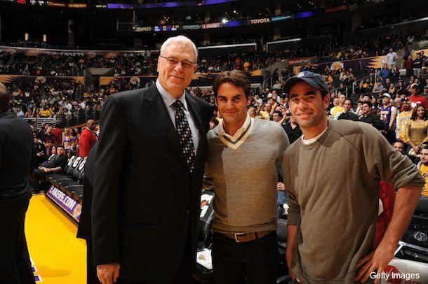 Image result for federer at laker game with sampras