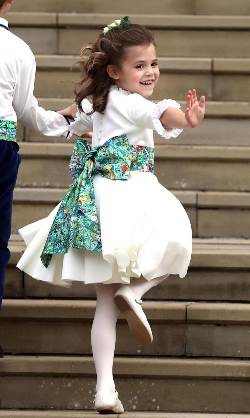 Dressed-Up: Teddy's dress followed the theme of the flower girls (Getty Images)