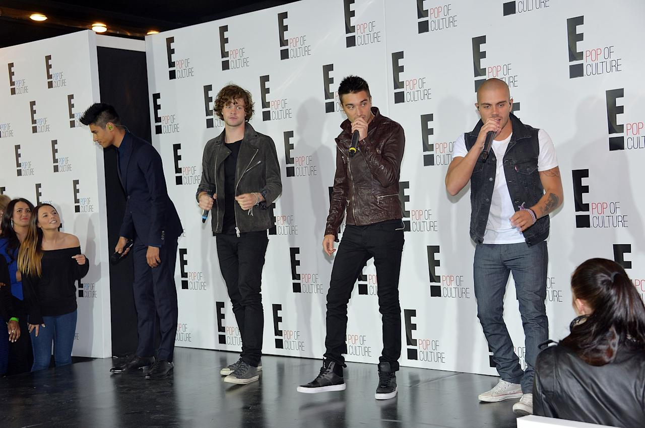 NEW YORK, NY - APRIL 22:  (L-R) Siva Kaneswaran, Jay McGuiness, Tom Parker, and Max George of The Wanted perform at the E! 2013 Upfront at The Grand Ballroom at Manhattan Center on April 22, 2013 in New York City.  (Photo by Mike Coppola/Getty Images)