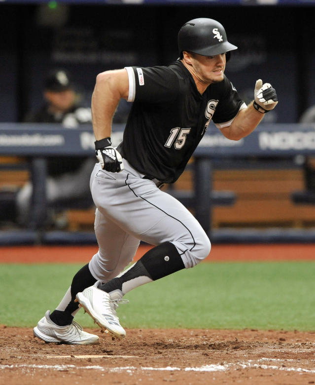 Chicago White Sox's Adam Engel races for first after hitting a RBI-single off Tampa Bay Rays reliever Andrew Kittredge during the seventh inning of a baseball game Sunday, July 21, 2019, in St. Petersburg, Fla. (AP Photo/Steve Nesius)