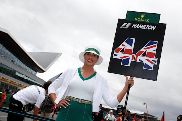 F1 - Formula One - British Grand Prix 2017 - Silverstone, Britain - July 16, 2017 Grid girl holds up Mercedes' Lewis Hamilton's number REUTERS/Jason Cairnduff