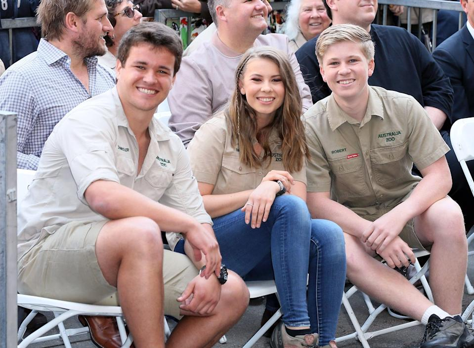 HOLLYWOOD, CA - APRIL 26:  (L-R) Wakeboarder Chandler Powell and conservationists/TV personalities Bindi Irwin and Robert Irwin attend Steve Irwin being honored posthumously with a Star on the Hollywood Walk of Fame on April 26, 2018 in Hollywood, California.  (Photo by David Livingston/Getty Images)