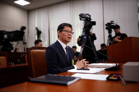 Kim Yeon-chul, a nominee for South Korean Unification Minister, speaks during a confirmation hearing for the post of Unification Minister at the National Assembly in Seoul, South Korea, March 26, 2019.  REUTERS/Kim Hong-Ji