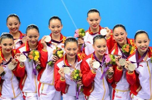 China's best performance of day 14 was silver in the synchronised swimming team event