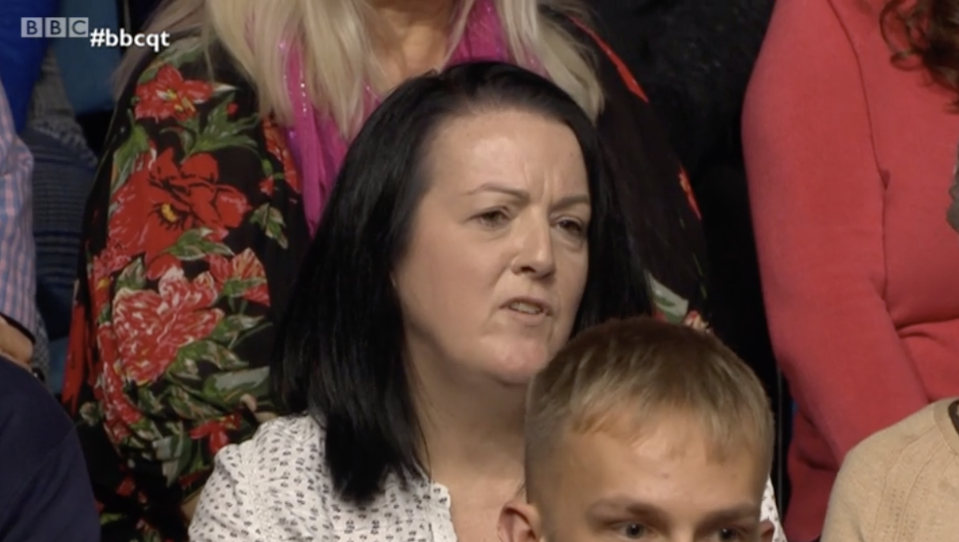 """The Leaver in the audience asked Ms Swinson if her policy showed she thinks Brexiteers are """"stupid"""". (BBC)"""