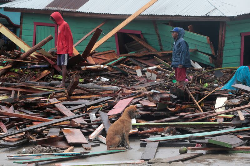 A dog sits amidst debris as residents inspect an area affected by the passing of Hurricane Iota, in Puerto Cabezas
