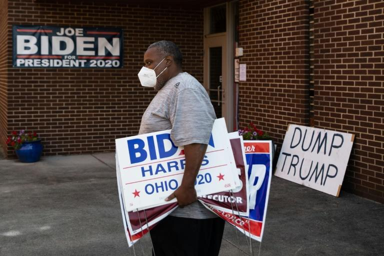 Tony Hickson at the Mahoning County, Ohio Democratic Party headquarters makes his sympathies clear