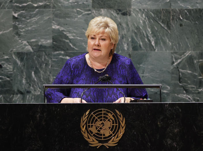 Prime Minister of Norway Ms. Erna Solberg speaks at the United Nations meeting on Sustainable Development Goals during the 76th session of the U.N. General Assembly at U.N. headquarters on Monday, Sept. 20, 2021. (John Angelillo/Pool Photo via AP)