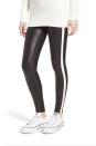 """<p><strong>Spanx</strong></p><p>nordstrom.com</p><p><strong>$76.99</strong></p><p><a href=""""https://go.redirectingat.com?id=74968X1596630&url=https%3A%2F%2Fshop.nordstrom.com%2Fs%2Fspanx-side-stripe-faux-leather-leggings%2F4911807&sref=https%3A%2F%2Fwww.marieclaire.com%2Ffashion%2Fg34437532%2Fbest-leather-leggings%2F"""" rel=""""nofollow noopener"""" target=""""_blank"""" data-ylk=""""slk:SHOP IT"""" class=""""link rapid-noclick-resp"""">SHOP IT</a></p><p>The side stripes give this legging a sporty feel when it comes to all your athleisure outfits. Rock with your favorite <a href=""""https://www.marieclaire.com/fashion/g29554536/best-sweaters-amazon/"""" rel=""""nofollow noopener"""" target=""""_blank"""" data-ylk=""""slk:winter sweater"""" class=""""link rapid-noclick-resp"""">winter sweater</a> or <a href=""""https://www.marieclaire.com/fashion/g26930582/chunky-sneakers/"""" rel=""""nofollow noopener"""" target=""""_blank"""" data-ylk=""""slk:chunky sneakers"""" class=""""link rapid-noclick-resp"""">chunky sneakers</a>.</p>"""
