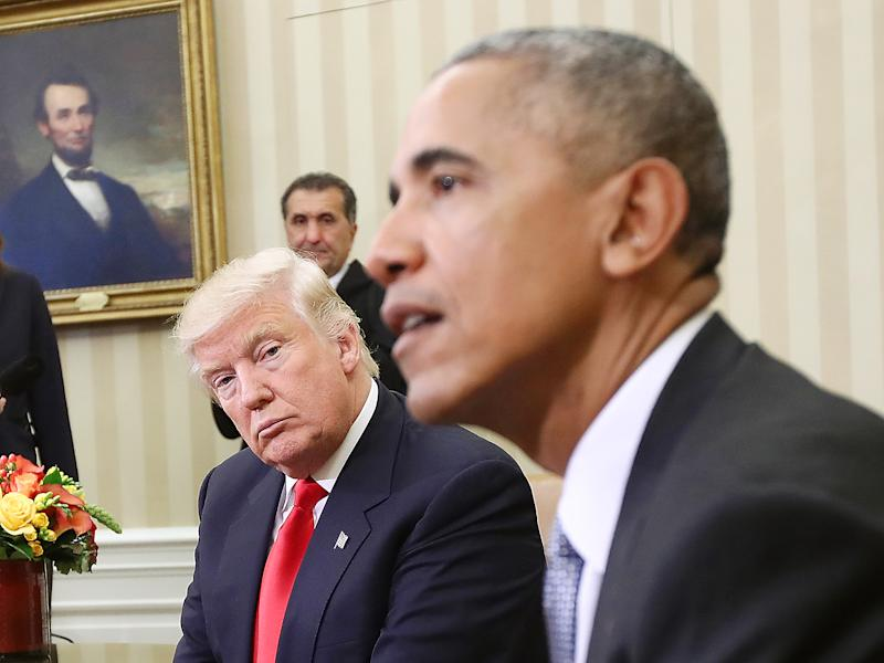 Mr Trump and Mr Obama were amicable when meeting prior to the inauguration: Getty