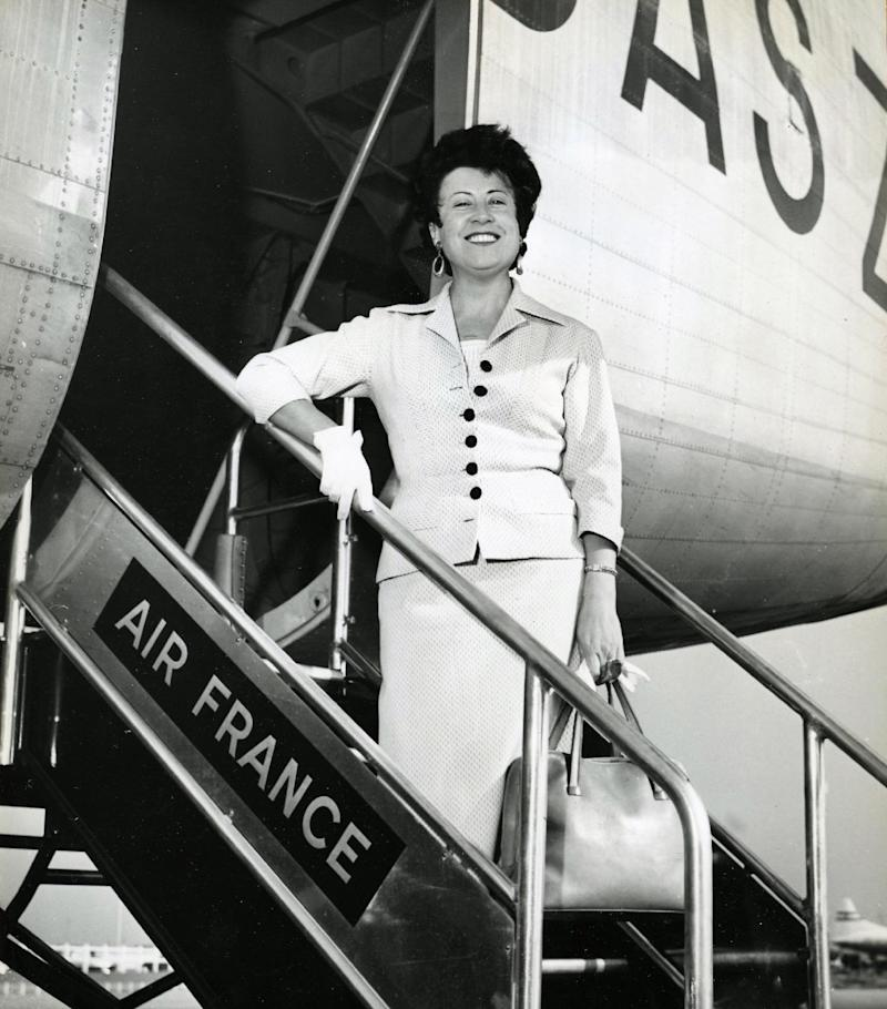 A photo taken in the 50's at the airport in Paris shows French singer Yvette Giraud