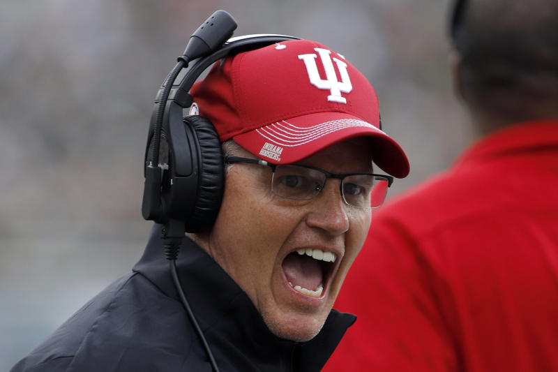 FILE- In this Sept. 28, 2019, file photo, Indiana coach Tom Allen reacts during the first half of an NCAA college football game against Michigan State in East Lansing, Mich. Tennessee and Indiana are both in a bowl game for the first time in three years. It's progress for respective head coaches Jeremy Pruitt and Tom Allen.  (AP Photo/Al Goldis, File)