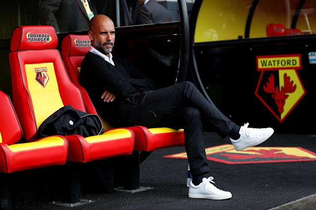 <p>Manchester City manager Pep Guardiola before the match REUTERS/Darren Staples </p>