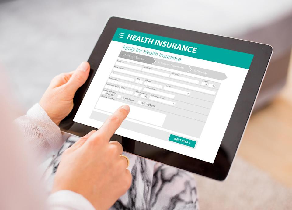 Smart tablet with health insurance sign up