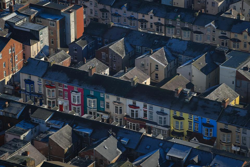 Terraced houses in Blackpool. (Photo by Peter Byrne/PA Images via Getty Images)