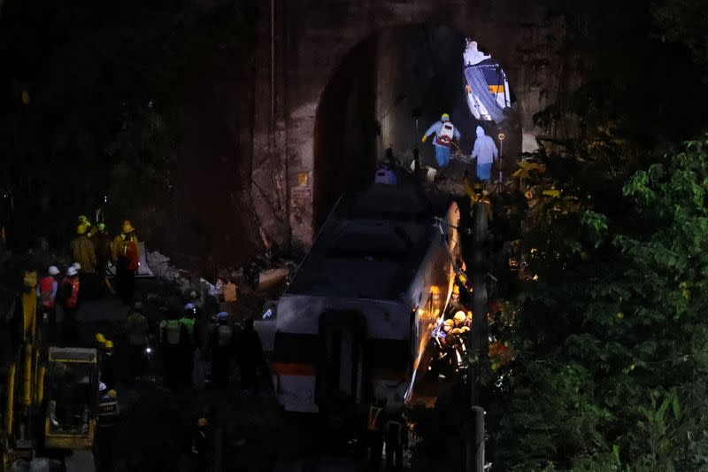 View of the site of the deadly train derailment, north of Hualien