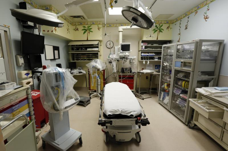 A paediatric emergency room suite is shown in the Ryder Trauma Center at Jackson Memorial Hospital in Miami