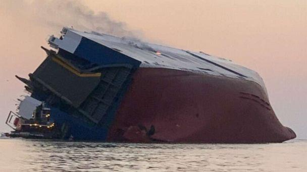 PHOTO: A cargo ship caught fire and overturned in the St. Simons Sound off Brunswick, Ga, Sept. 8, 2019. (U.S. Coast Guard)
