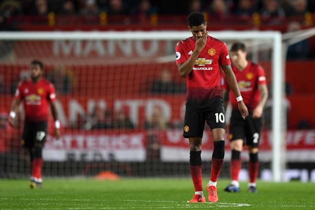 Marcus Rashford looks depleted during Manchester United's defeat on Wednesday. (Credit: Getty Images)