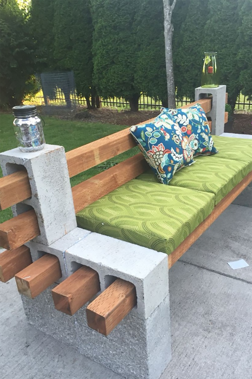 """<p>This has to be the easiest way to <a href=""""http://www.countryliving.com/gardening/garden-ideas/g3120/upcycled-garden-benches/"""" rel=""""nofollow noopener"""" target=""""_blank"""" data-ylk=""""slk:build a bench"""" class=""""link rapid-noclick-resp"""">build a bench</a> we've ever seen. Just make sure to secure the back rest with concrete glue.</p><p><em>Get the tutorial at <a href=""""http://www.iconhomedesign.com/cinder-block-bench-for-your-home-outdoors-beauty.html/cinder-block-bench-with-back-design"""" rel=""""nofollow noopener"""" target=""""_blank"""" data-ylk=""""slk:iconhomedesign.com"""" class=""""link rapid-noclick-resp"""">iconhomedesign.com</a>.</em></p>"""