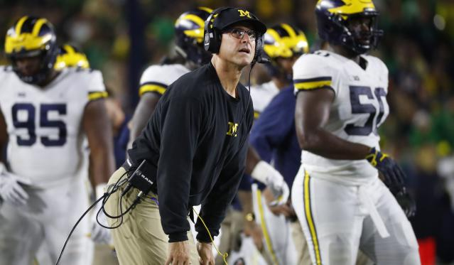 Michigan head coach Jim Harbaugh during the game against Notre Dame on Sept. 1. (Paul Sancya/AP)