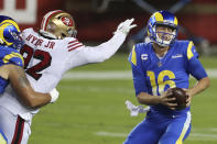 San Francisco 49ers defensive end Kerry Hyder Jr., left, applies pressure to Los Angeles Rams quarterback Jared Goff (16) during the second half of an NFL football game in Santa Clara, Calif., Sunday, Oct. 18, 2020. (AP Photo/Jed Jacobsohn)