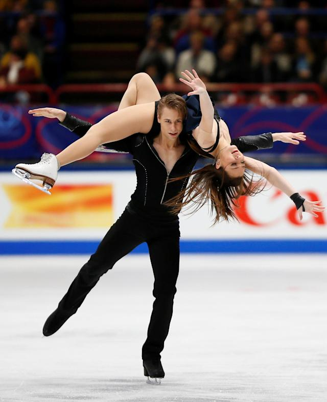 Figure Skating - World Figure Skating Championships - The Mediolanum Forum, Milan, Italy - March 24, 2018 Lithuania's Allison Reed and Saulius Ambrulevicius during the Ice Dance Free Dance REUTERS/Alessandro Garofalo