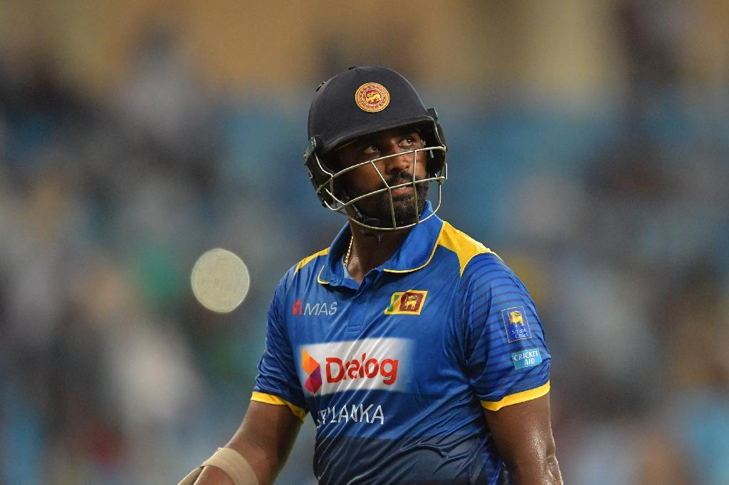 Sri Lanka's Thisara Perera in action during a one-day match against Pakistan in Dubai, on October 13, 2017 (AFP Photo/GIUSEPPE CACACE)
