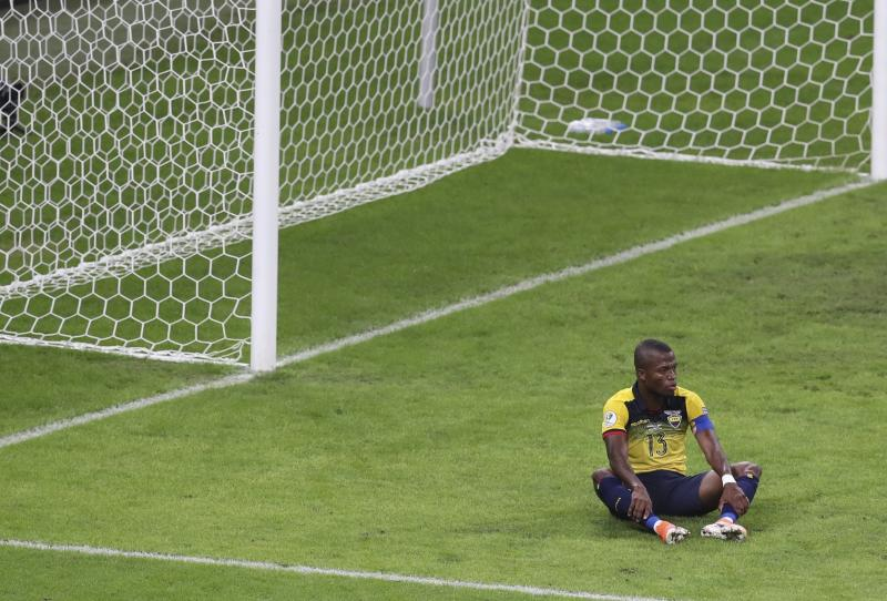 Ecuador's Enner Valencia sit in front of the goal at the end of a Copa America Group C soccer match against Japan at the Mineirao stadium in Belo Horizonte, Brazil, Monday, June 24, 2019. The match ended in a 1-1 tie, sending both teams out of the tournament. (AP Photo/Natacha Pisarenko)