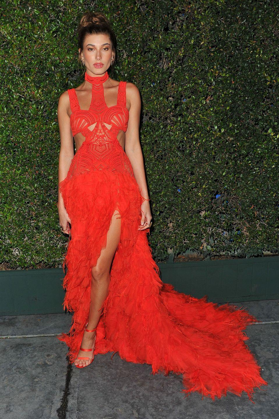<p>This neon dress is by Jonathan Simkhai. Hailey wore this to The Art of Elysium Gala in January.</p>
