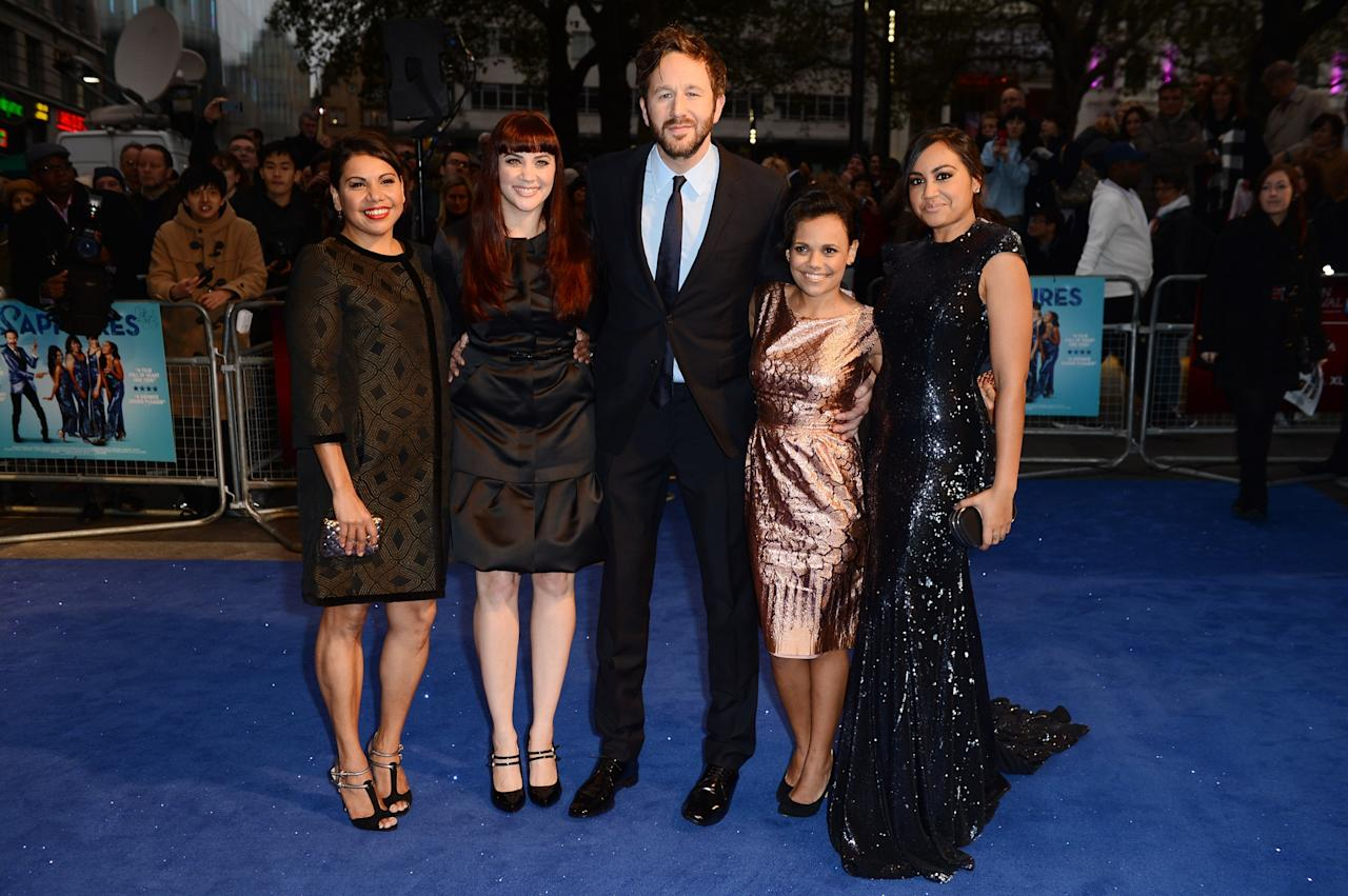 LONDON, ENGLAND - OCTOBER 15:  (L-R) Actors  Deborah Mailman, Shari Sebbens, Chris O'Dowd, Miranda Tapsell and Jessica Mauboy attends the premiere of 'The Sapphires' during the 56th BFI London Film Festival at Odeon West End on October 15, 2012 in London, England.  (Photo by Ian Gavan/Getty Images for BFI)