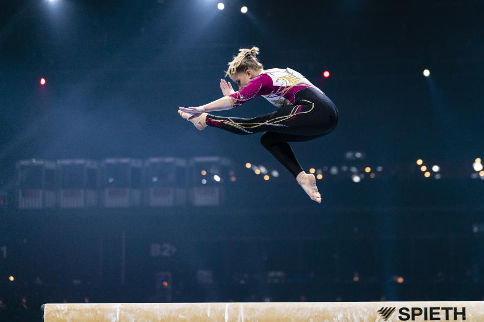 BASEL, SWITZERLAND - APRIL 23: Elisabeth Seitz of Germany competes on the beam during the Women's Artistic Gymnastics Finals at St. Jakobshalle on April 23, 2021 in Basel, Switzerland. (Photo by Eurasia Sport Images/Getty Images)