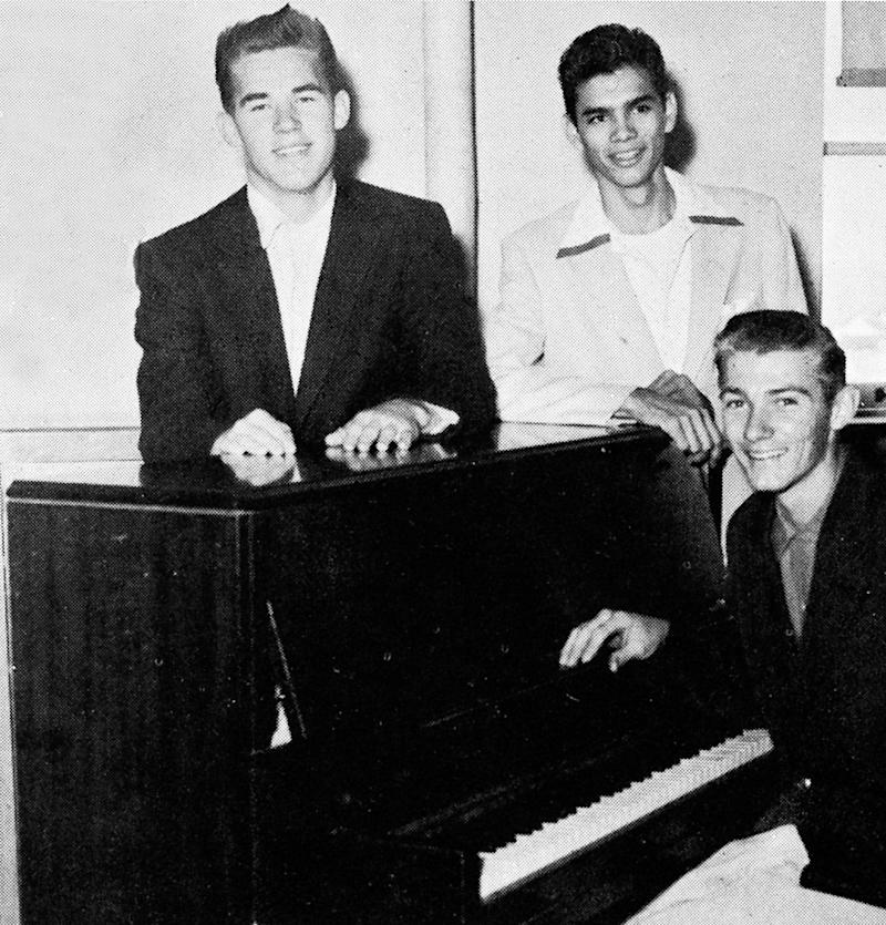 Kenny Rogers (left) pictured with fellow choir members at Jefferson Davis High School in Houston, Tex.; 1955