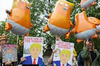 Protesters in Trafalgar Square, London, on the second day of the state visit to the UK by US President Donald Trump. (Katie Collins/EMPICS)
