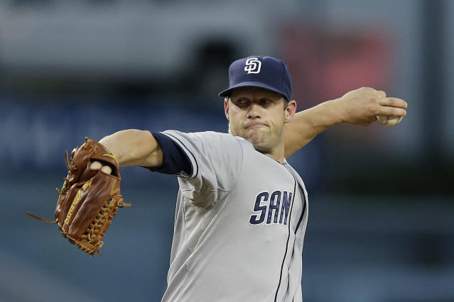 San Diego Padres starting pitcher Eric Stults throws against the Los Angeles Dodgers during the first inning of a baseball game on Friday, Aug. 30, 2013, in Los Angeles. (AP Photo/Jae C. Hong)