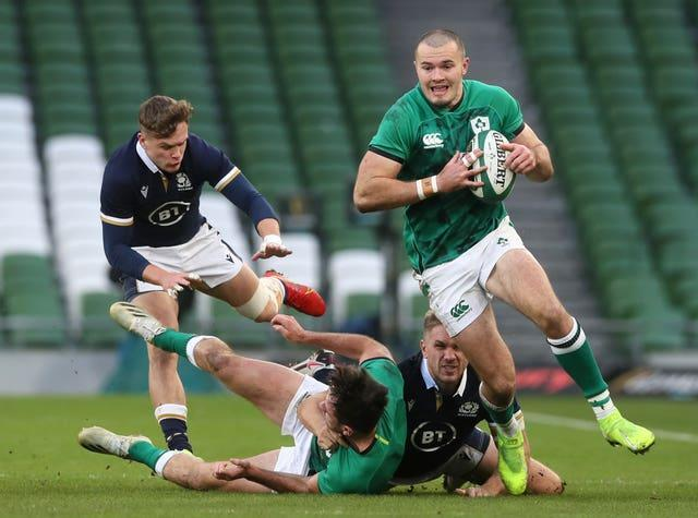Ireland back Jacob Stockdale, right, could return from injury later in the tournament