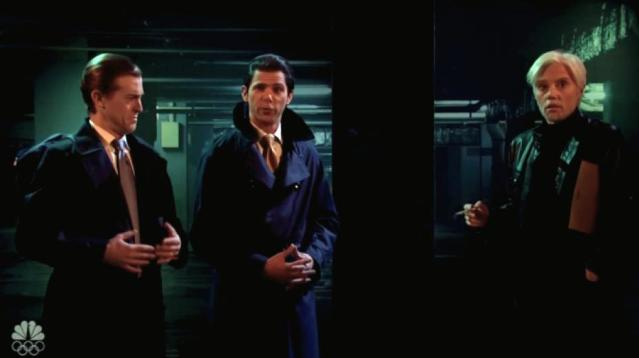 """It's double Trump trouble in a London underground parking garage when the president's sons meet up with Kate McKinnon's Julian Assange for an episode of """"The Mueller Files"""" on the cold open of """"Saturday Night Live."""""""
