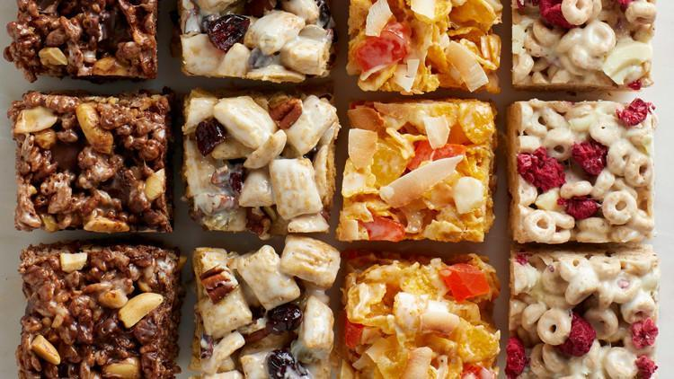 "<p>The base of these sweet cereal bars calls for a 10-ounce bag of mini marshmallows, which helps to bind chocolate puffed rice cereal or flaked corn cereal with dried fruit, chopped chocolate, coconut flakes, nuts, and more. <a href=""https://www.marthastewart.com/1546603/crispy-cereal-treats"" rel=""nofollow noopener"" target=""_blank"" data-ylk=""slk:View recipe"" class=""link rapid-noclick-resp""> View recipe </a></p>"
