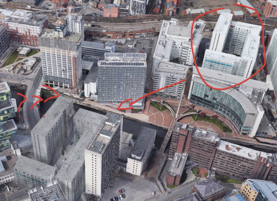 The Google Maps image which shows two buildings in Manchester on the map strikingly similar.