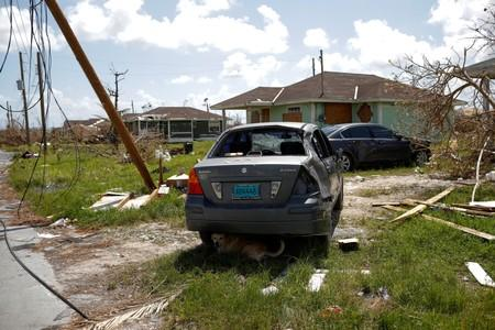 A dog sits in the shadow under a destroyed car after Hurricane Dorian hit the Abaco Islands in Spring City